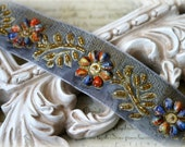 Trim Beaded and Sequins Embroidered Floral and Leaf Pattern Trim for Couture Gowns, Sashes, Headbands, Dresses, Crafting, LA-159