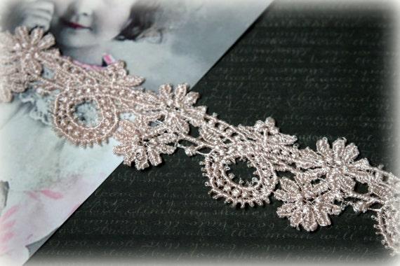 Champagne Rosa Venedig Lace für Bridal, Millinery, Lace-Schmuck, Modeschmuck, Design, Schärpen, Headbands, Handwerk LA-127