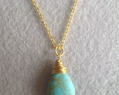 FOR SALE Turquoise Teardrop Charm Gold Chain Necklace, Bridesmaids gift, Wedding gift, Best  friend, Mother daughter,  Friendship