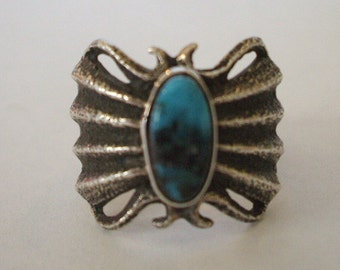 NAVAJO Anthony Bowman, Ithica Peak Turquoise TUFA Cast Sterling Silver RING sz 10