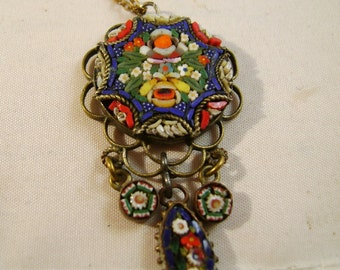 SALE.Micro Mosaic Art Deco Pendant Necklace Was 175.00 now 145.00