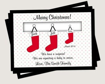 Christmas Pregnancy Announcement - Family Stockings   (6 Count with Envelopes)