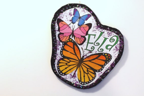 Applique, Monogrammed Butterfly Applique for Clothing, Backpacks, Jeans, T Shirts, Hats