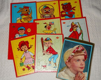 Built-Rite Sta-N-Place Puzzles, 9 Tray Puzzles. 1950s Mid-Century Vintage