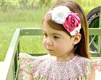 Pink and White Chevron Couture Headband, Photo Prop, Girl, Newborn, Infant, Toddler, Baby Headband