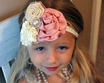 Vintage Inspired Headband, Photo Prop, Fasinator, Couture, Girl, Newborn, Infant, Toddler