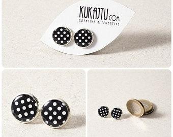 Black white Polka Dots Stud Earrings Polka Dot Jewelry Earrings Polka Dots Post Boho Earrings Black and White Retro Earrings