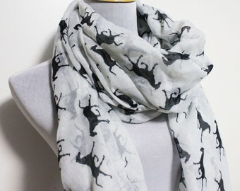 White Horse Scarf Runnning Horse Loop Scarf Brown Horse Scarf Fall Scarf Winter Soft and Chunky Scarf Large Scarf