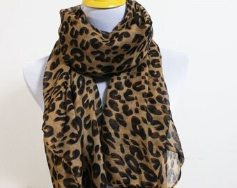 Leopard Scarf, Brown Leopard Scarf, Fall Scarf, High Fashion Scarf with Leopard Print, Christmas Gift, Womens Accessory, Cute Scarf