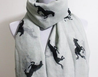 Grey Horse Scarf Running Horse Loop Scarf Brown Horse Scarf Fall Scarf Winter Soft and Chunky Scarf Large Scarf