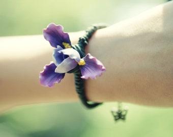 Dazzling iris flower BRACELET. 3D polymer clay art piece