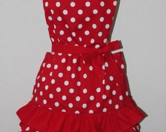 polka dot ruffle retro apron