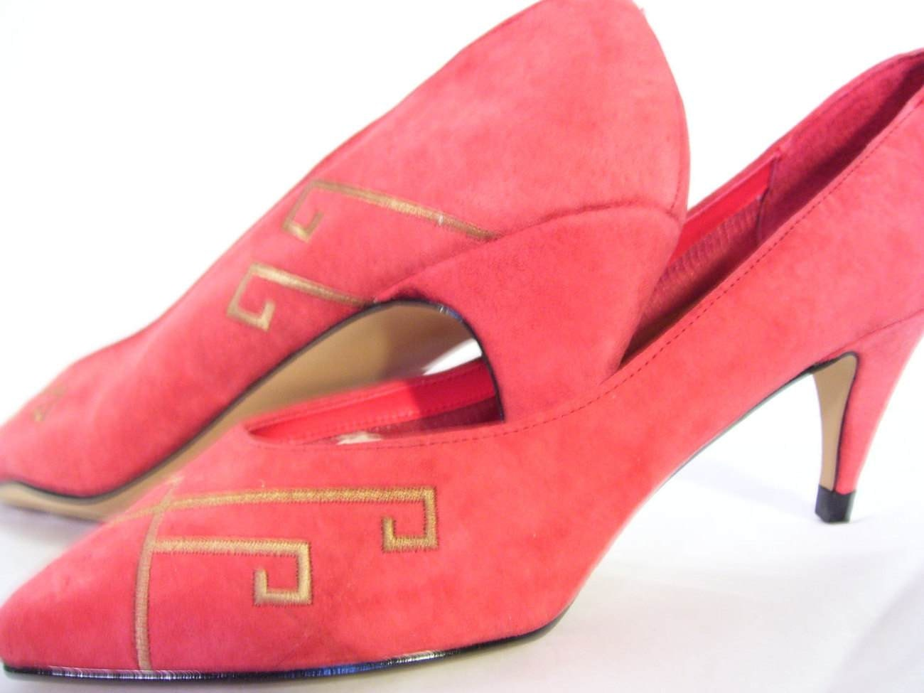 coral suede leather high heel shoes pumps sale by