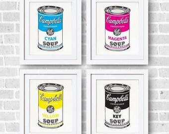 CMYK Soup Set 8x10 Print - Campbell's Andy Warhol Parody