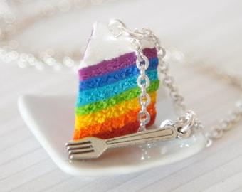 Necklace Rainbow cake dollhouse food Polymer clay miniature food jewelry LGBT