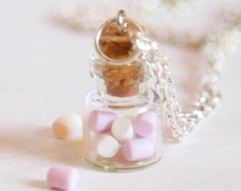 Marshmallow bottle necklace polymer clay kawaii jar miniature food jewelry