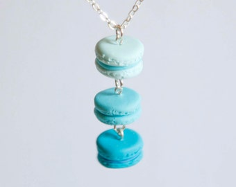 Macaroons blue color range necklace polymer clay miniature food jewelry