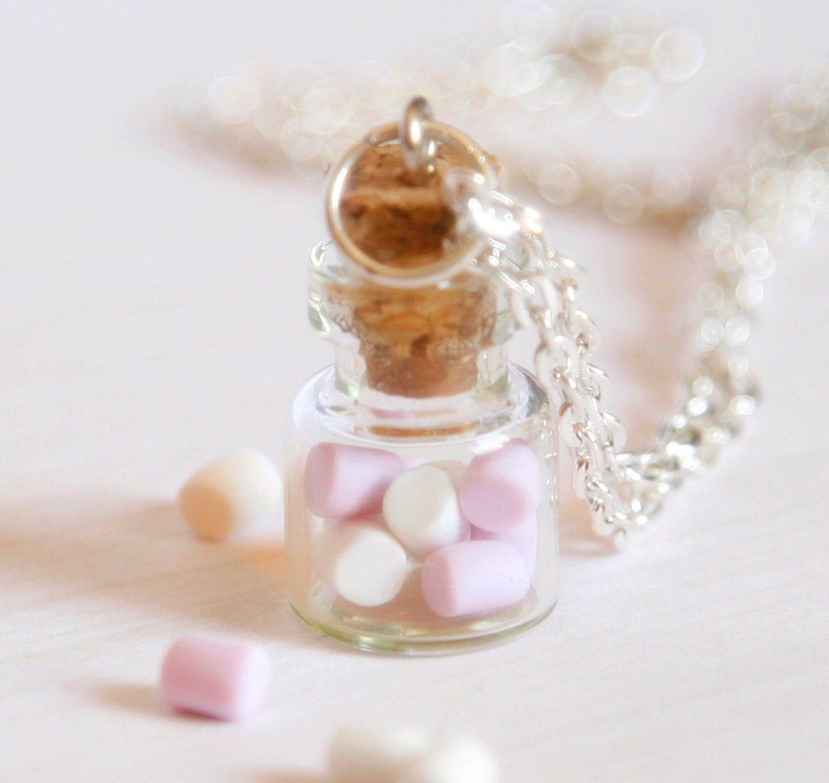Marshmallow Bottle Necklace Polymer Clay Kawaii Jar Miniature
