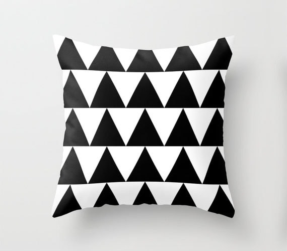 Black and White Triangle Throw Pillow By Pencil Me In // Black and White Pillow