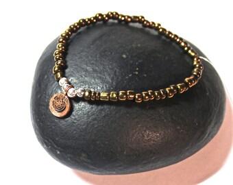 Yoga Bracelet - Copper Charm,  goldish bracelet - meditation bracelet, Mala Beads Bracelet, Boho Spiritual Jewelry, Zen Jewelry