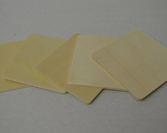 """3"""" Wood Squares - Set of 5 Wood Tiles - Unfinished Wood - 1/8"""" Thick"""