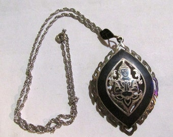 Gorgeous vintage antique STERLING SILVER ss made in siam large convertible pendant brooch and NECKLACE