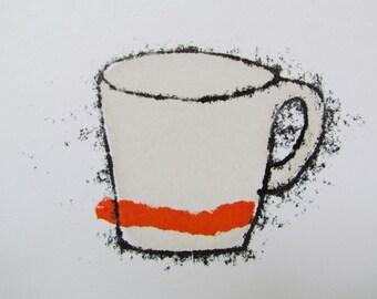 Tangerine stripe cup - Hand Printed, original screenprint and monoprint