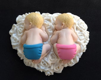 Fondant Twins Baby boy and girl cake topper for Baby Shower, Birthday, Party Favor