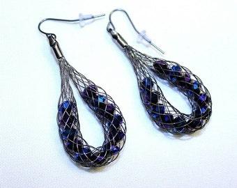 Hematite Wire Net Earrings