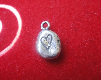 925 sterling silver oxidized heart, silver heart charm, heart, small heart, heart charm