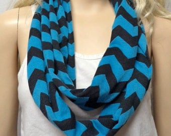 Turquoise Blue  & Black  Chevron Print  Infinity Scarf   Jersey Knit