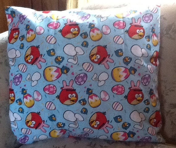 Angry birds Easter throw pillow back is solid light blue