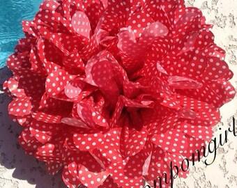 Red with White Polka Dot- 1 tissue paper pom pom ..... baby shower / wedding / party decor / birthday / bridal shower / nursery