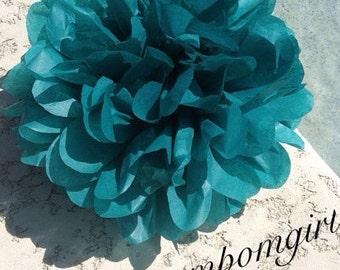 DARK TEAL / 1 tissue paper pom pom / wedding decorations/ baby shower / birthday / bridal shower / nursery decor / anniversary / photo prop