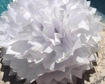 WHITE / 1 tissue paper pom pom / wedding decorations, birthday, nursery decor, bridal shower, baby shower, diy, paper flowers, backdrop