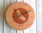 Custom Personalized Wood Wall Clock - City State or Country Circle Design