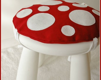 Toadstool Cushion Maroon - Children/Kids Cushion for Ikea Mammut Stool / Chair