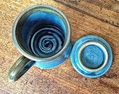 Pottery Mug, Handmade With Lid, Blue and Brown Mug with Lid, hebal tea steeping mug