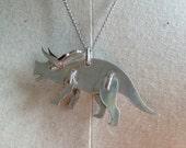 Triceratops Pendant .999 Fine Silver