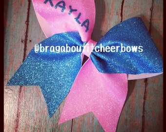 3 inch cheer bow with your name. Ask about bulk discounts, color and mascot options.