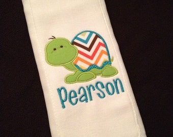 Burp cloth with turtle applique and name