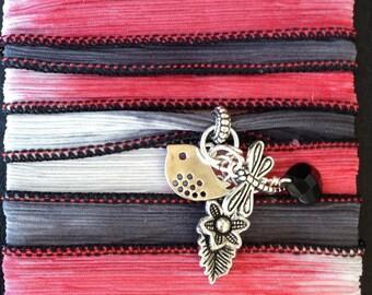 Silk Wrap Bracelet with Charm Cluster