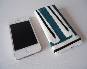 iPhone 5 and 5S sleeve, green and blue phone sleeve with abstract print