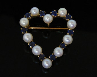 Vintage Gold Heart Pin with Sapphires and Pearls 8QTRED-D