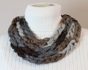 Chain Stitch Skinny Scarf in Browns and Grays