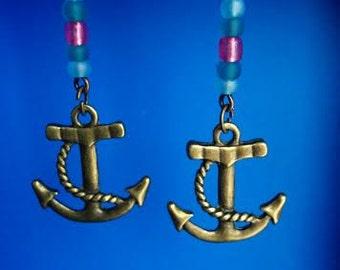 Purple & Blues Anchor Earrings