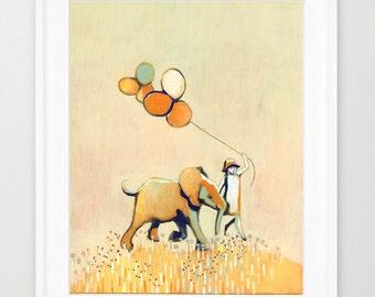 little girl and elephant, print of orginal painting ,nursery art