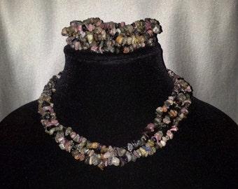 925 Sterling Silver Necklace with Many Colored Semiprecious (Semi Precious) Stones