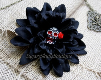 Day of the Dead, Sugar Skull Accessory, Dia de los Muertos, Hair Clip Flower, Black Dahlia with Red Rose, Halloween Costume