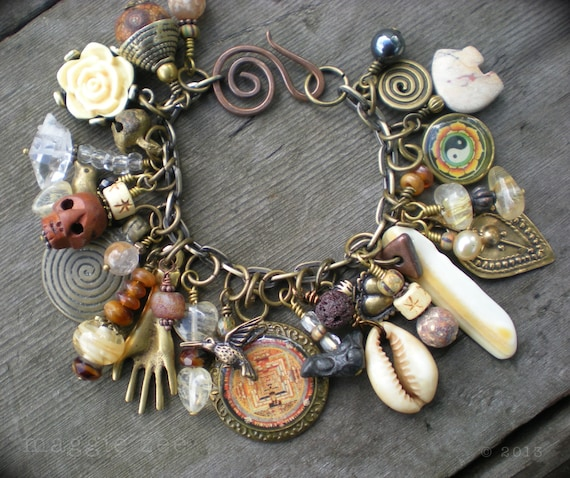 reserved lucky mojo shaman amulet charm bracelet by maggiezees